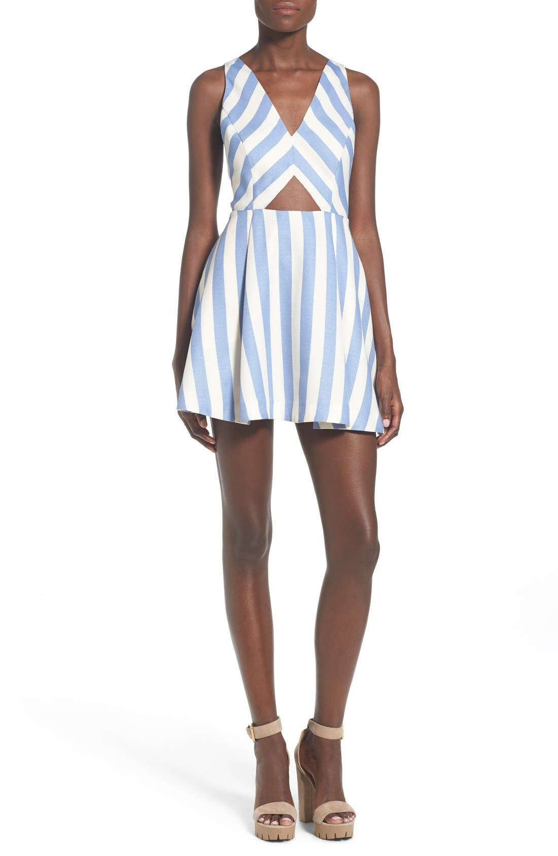 Main Image - Lovers + Friends 'Honor' Stripe Fit & Flare Dress