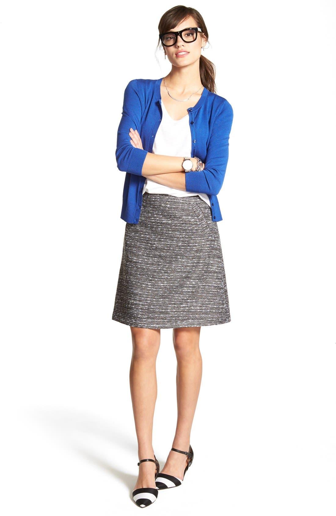 Alternate Image 2  - Halogen® Welt Pocket A-Line Skirt (Regular & Petite)