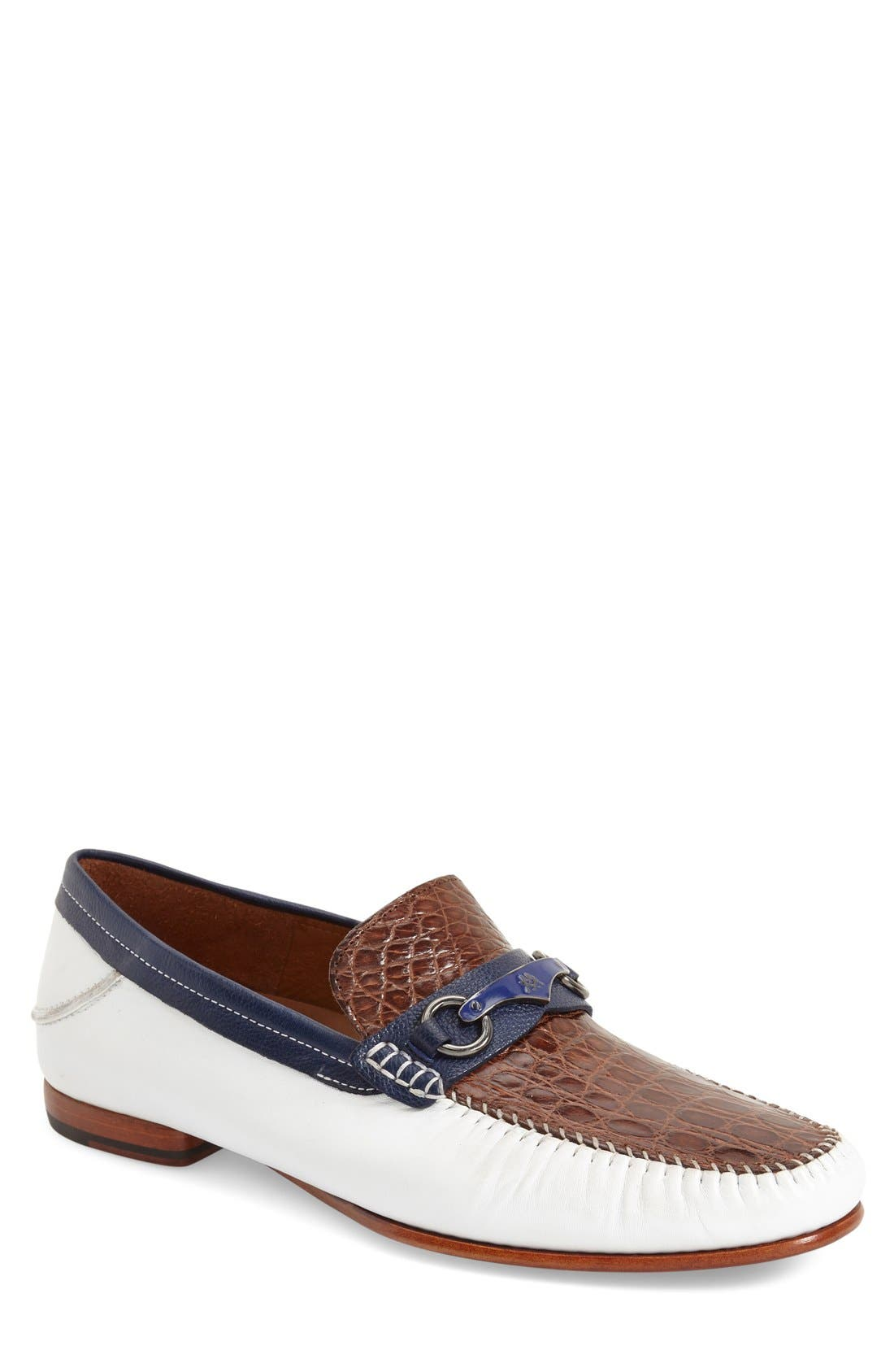 MEZLAN 'Gaudi Venetian' Genuine Crocodile Bit Loafer