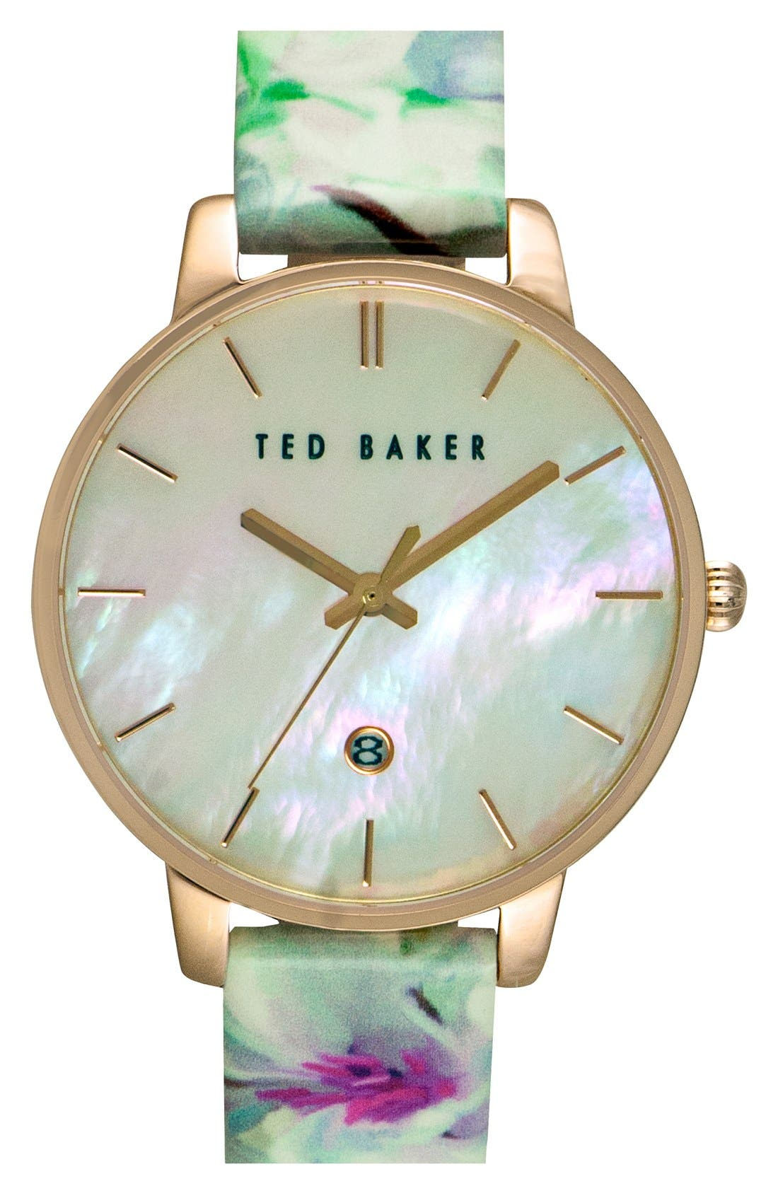 Main Image - Ted Baker London Floral Print Strap Watch, 40mm