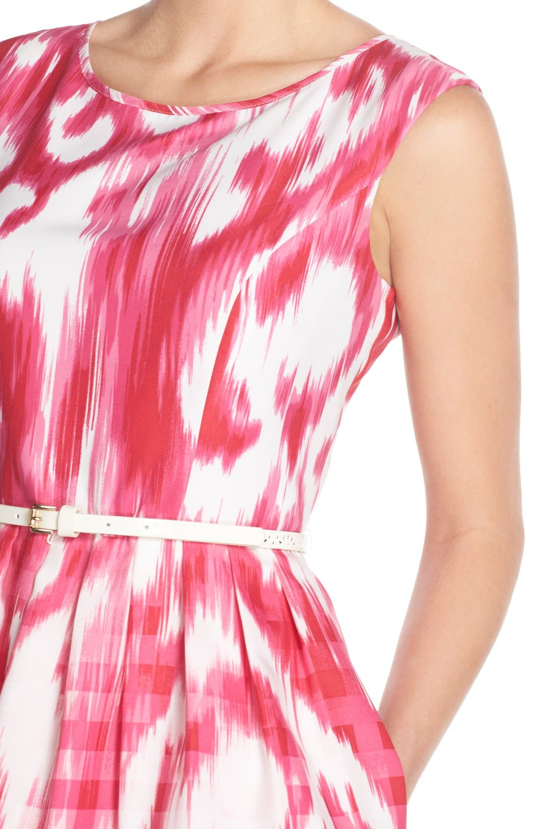 Alternate Image 5  - Ellen Tracy Belted Mixed Print Faille Fit & Flare Dress (Regular & Petite)