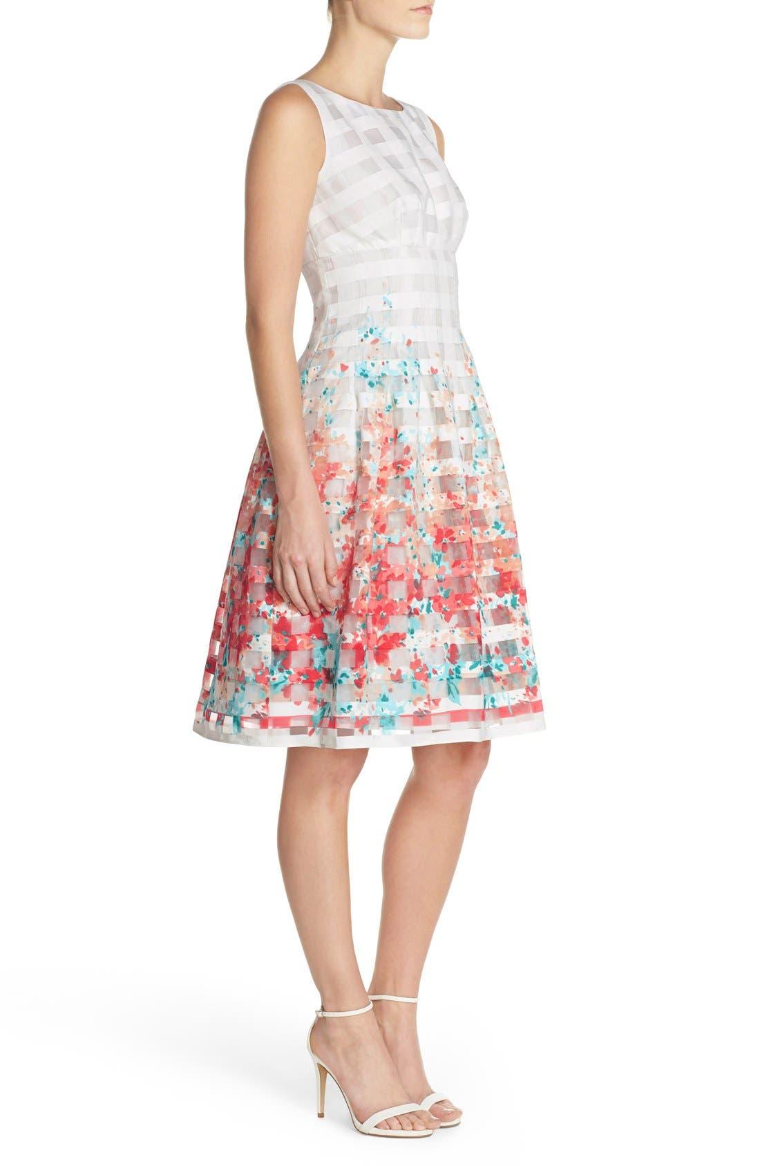 Alternate Image 3  - Chetta B Floral Organza Fit & Flare Dress