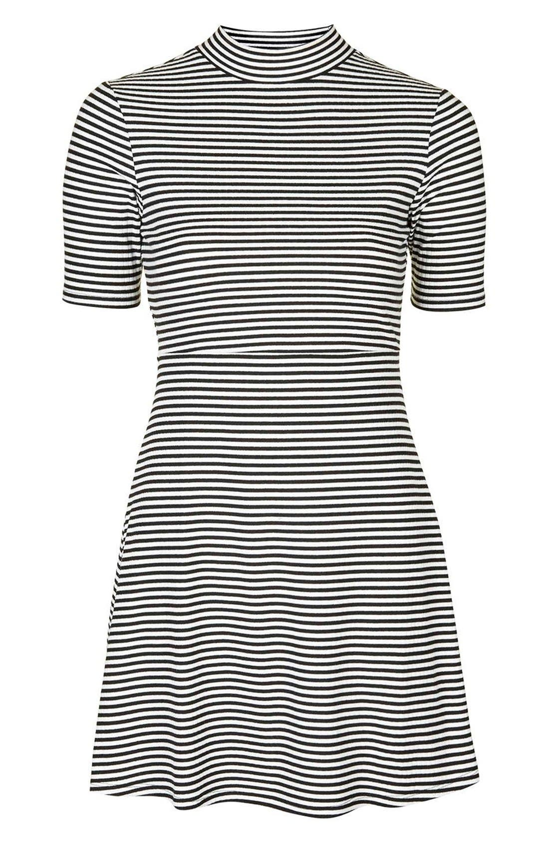 Alternate Image 4  - Topshop Stripe Flippy Dress (Petite)