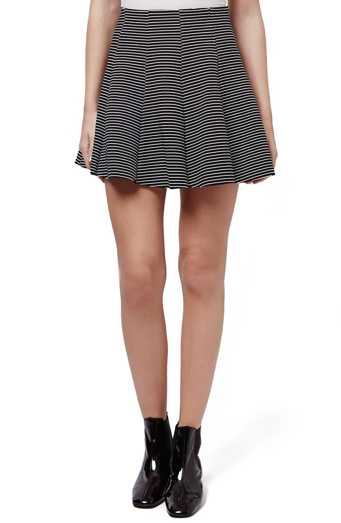 Main Image - Topshop Stripe Flippy Skirt (Petite)