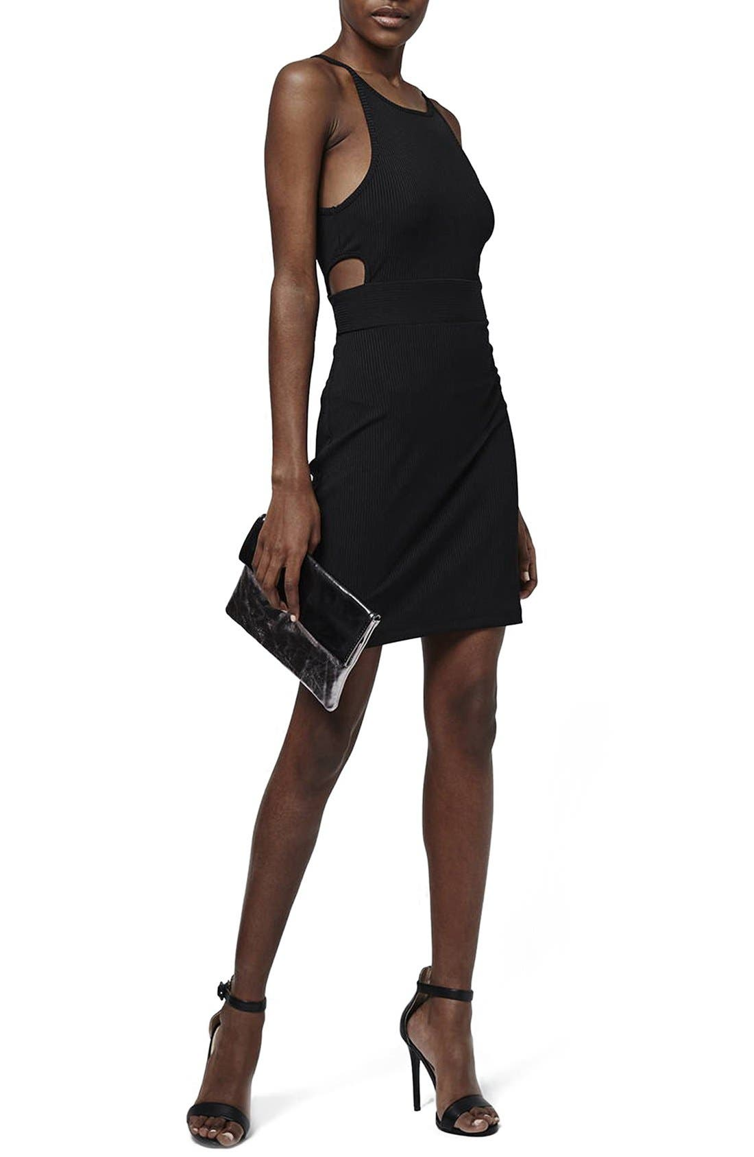 Alternate Image 1 Selected - Topshop 'Sporty' Ribbed Knit Body-Con Dress (Petite)