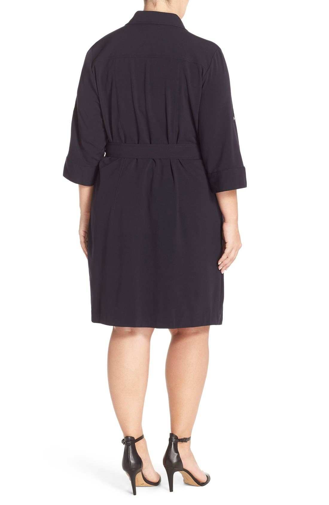 Alternate Image 2  - MICHAEL Michael Kors Belted Utility Shirtdress (Plus Size)