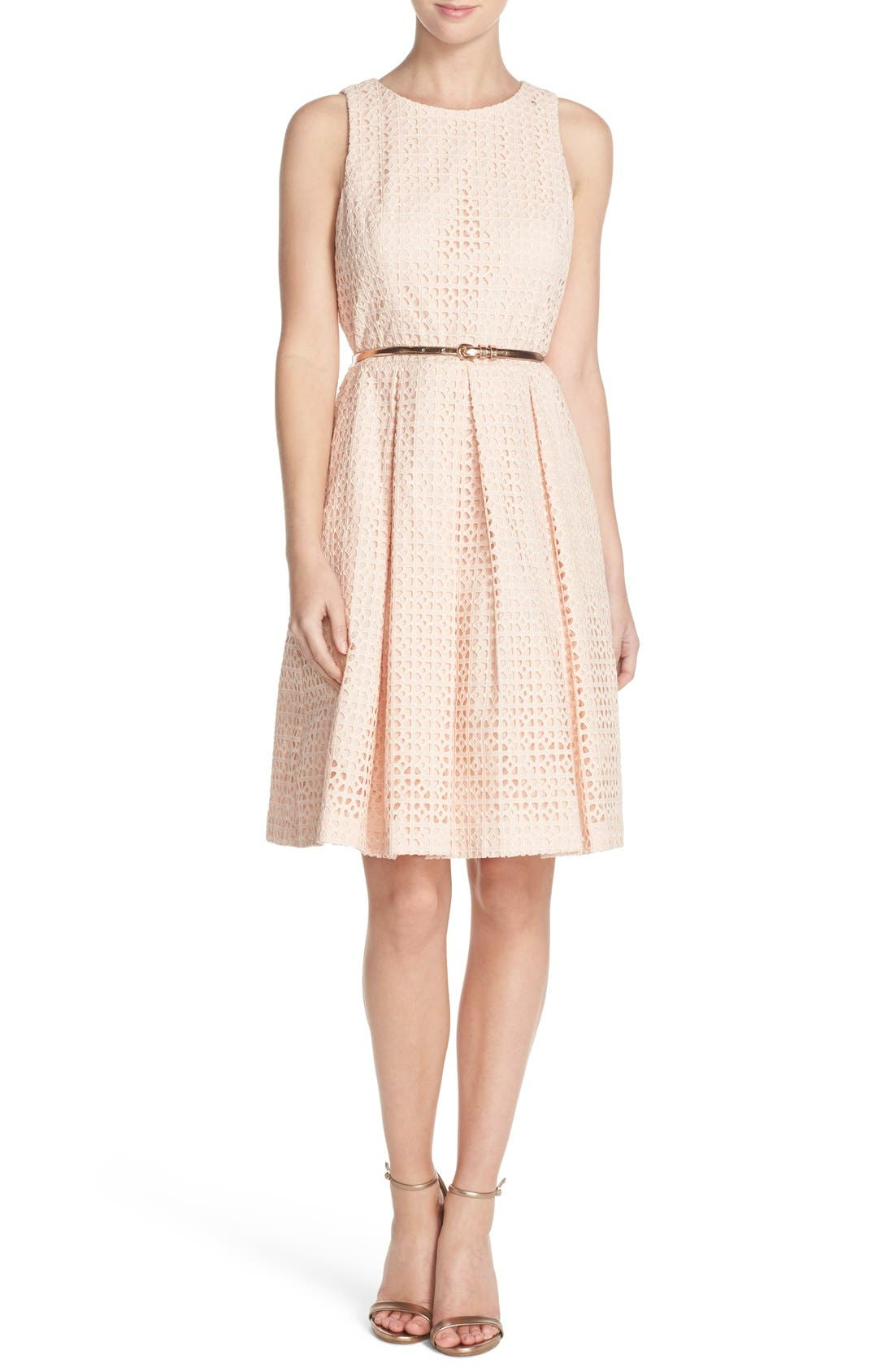 Alternate Image 4  - Eliza J Eyelet Cotton Fit & Flare Dress (Regular & Petite)