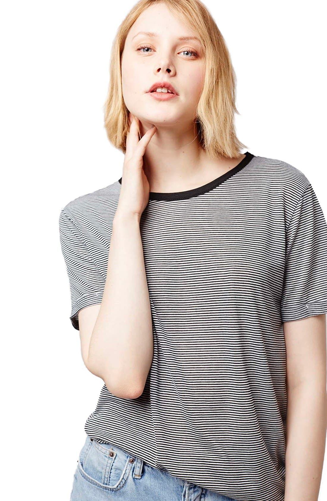 Alternate Image 4  - Topshop Stripe Asymmetrical Tee