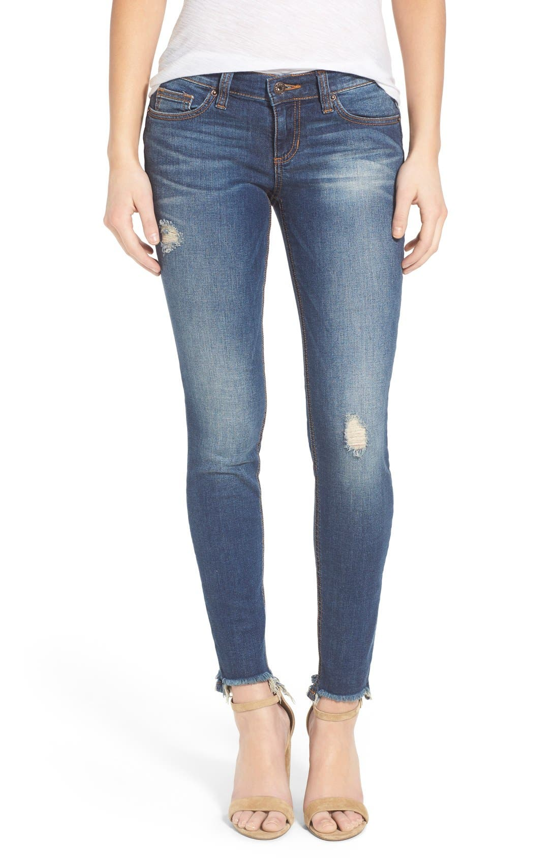 Alternate Image 1 Selected - SP Black Distressed Raw Hem Skinny Jeans