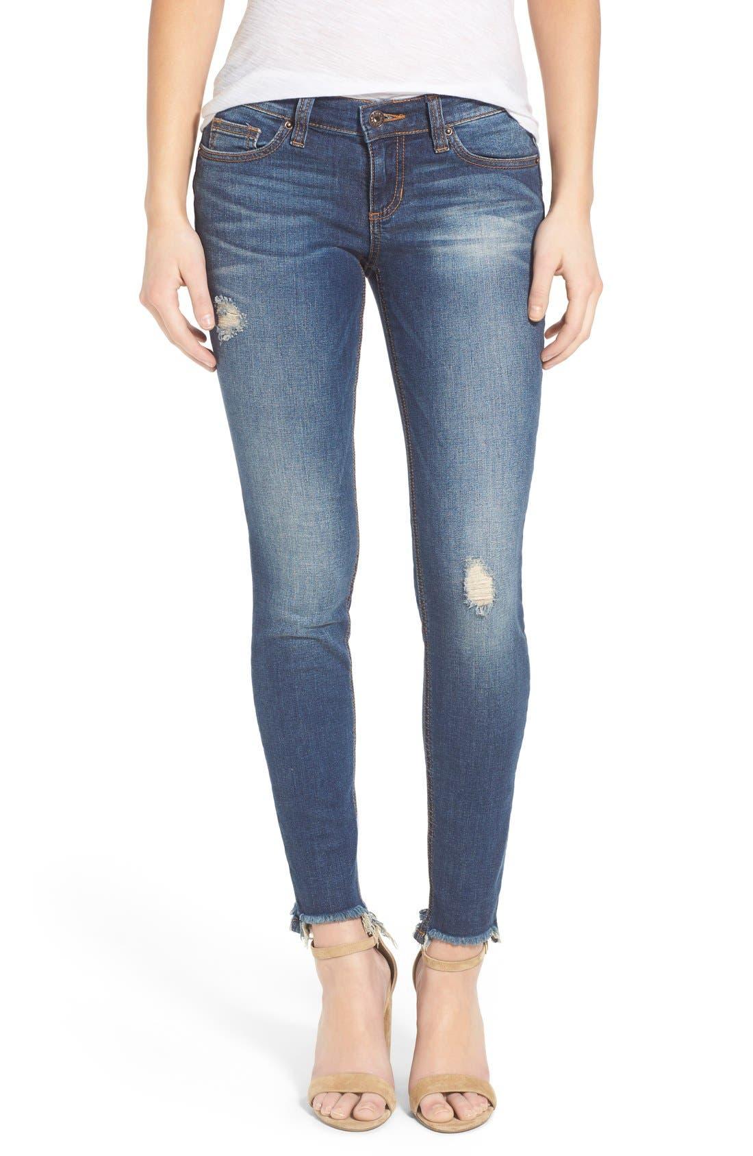 Main Image - SP Black Distressed Raw Hem Skinny Jeans