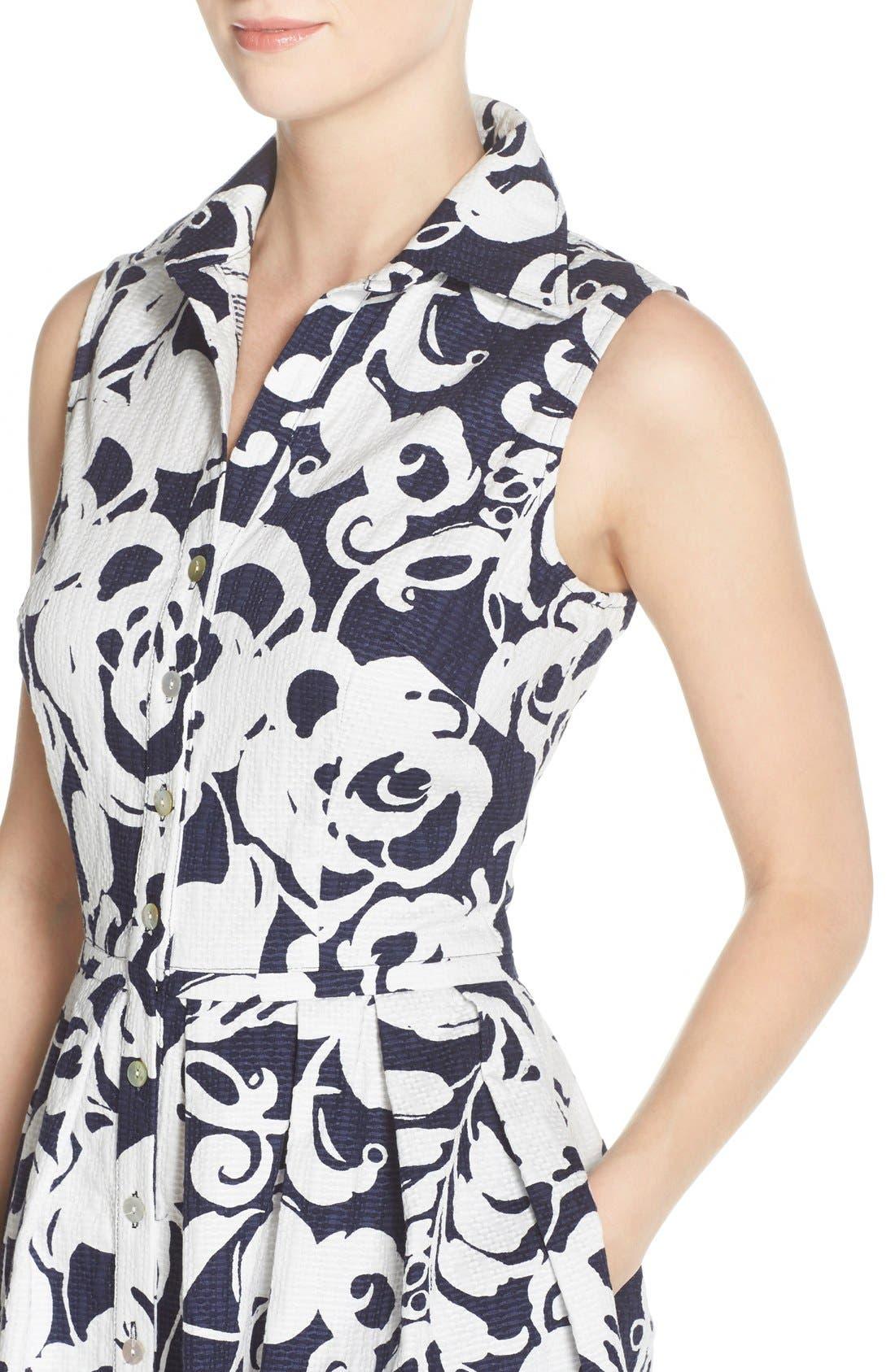 Alternate Image 5  - Taylor Dresses Print Jacquard Fit & Flare Shirtdress