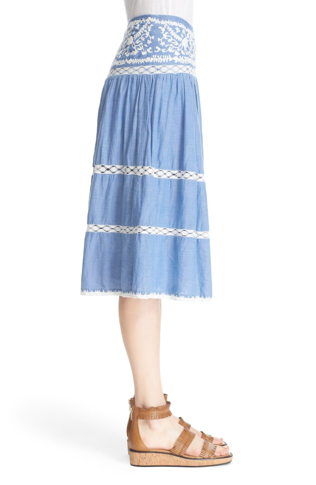 Alternate Image 3  - Joie Embroidered Chambray Skirt