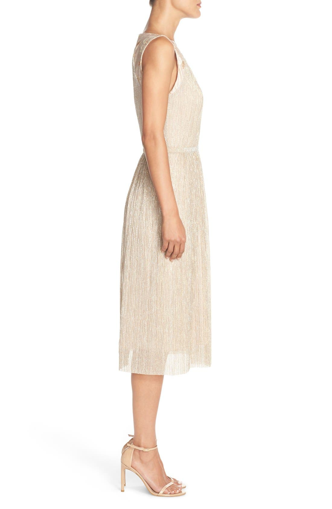 Alternate Image 3  - Tahari Pleated Metallic Jacquard Illusion Midi Dress