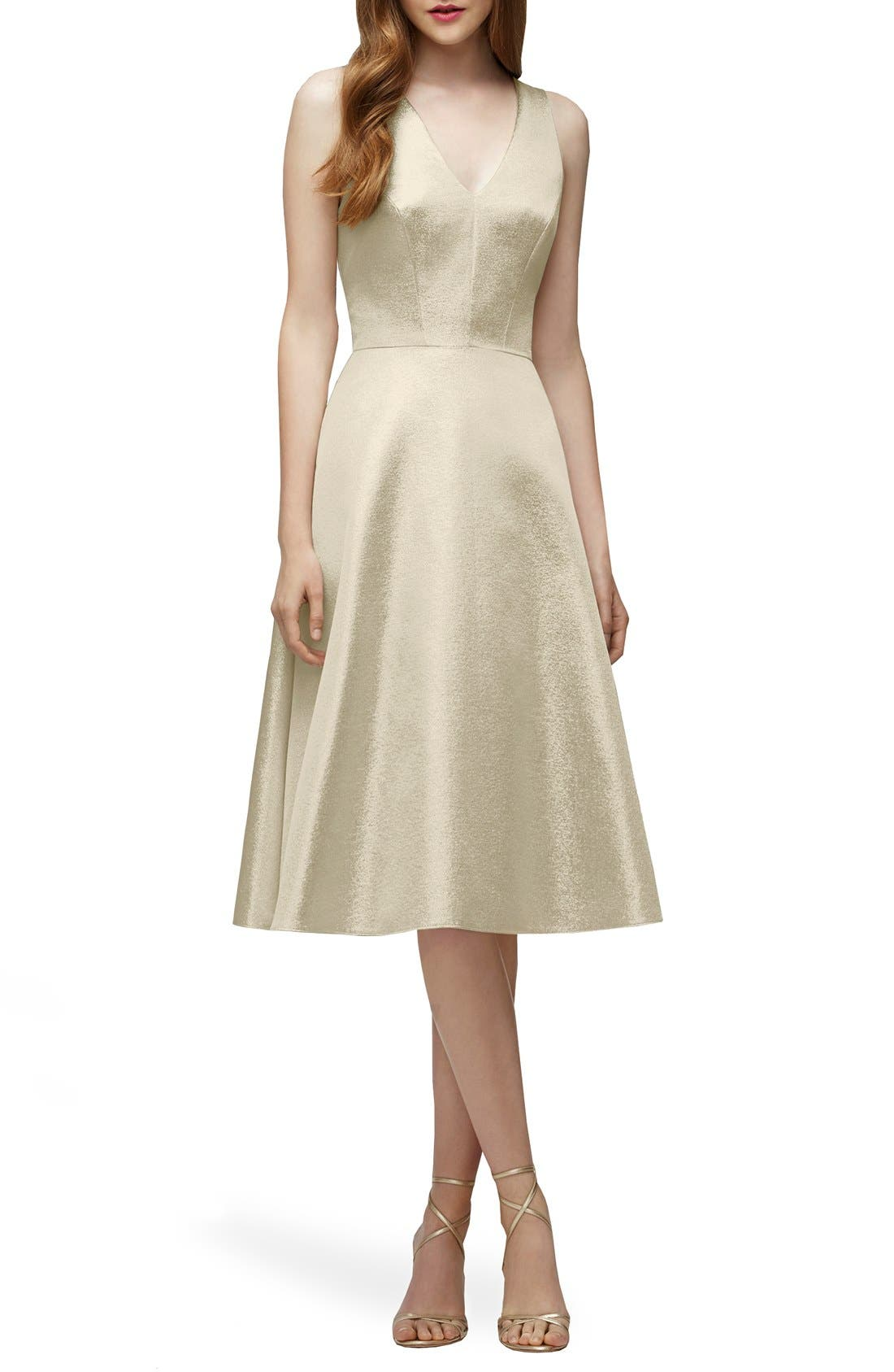 Main Image - Lela Rose Bridesmaid V-Neck Metallic Fit & Flare Dress