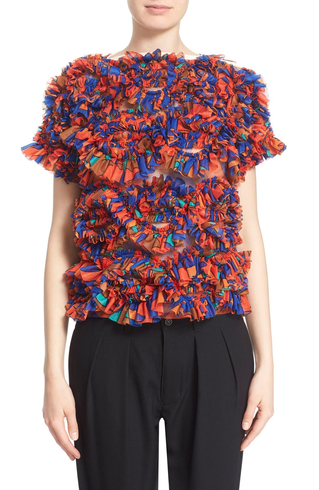 Alternate Image 1 Selected - Tricot Comme des Garçons Print Ruffle Top