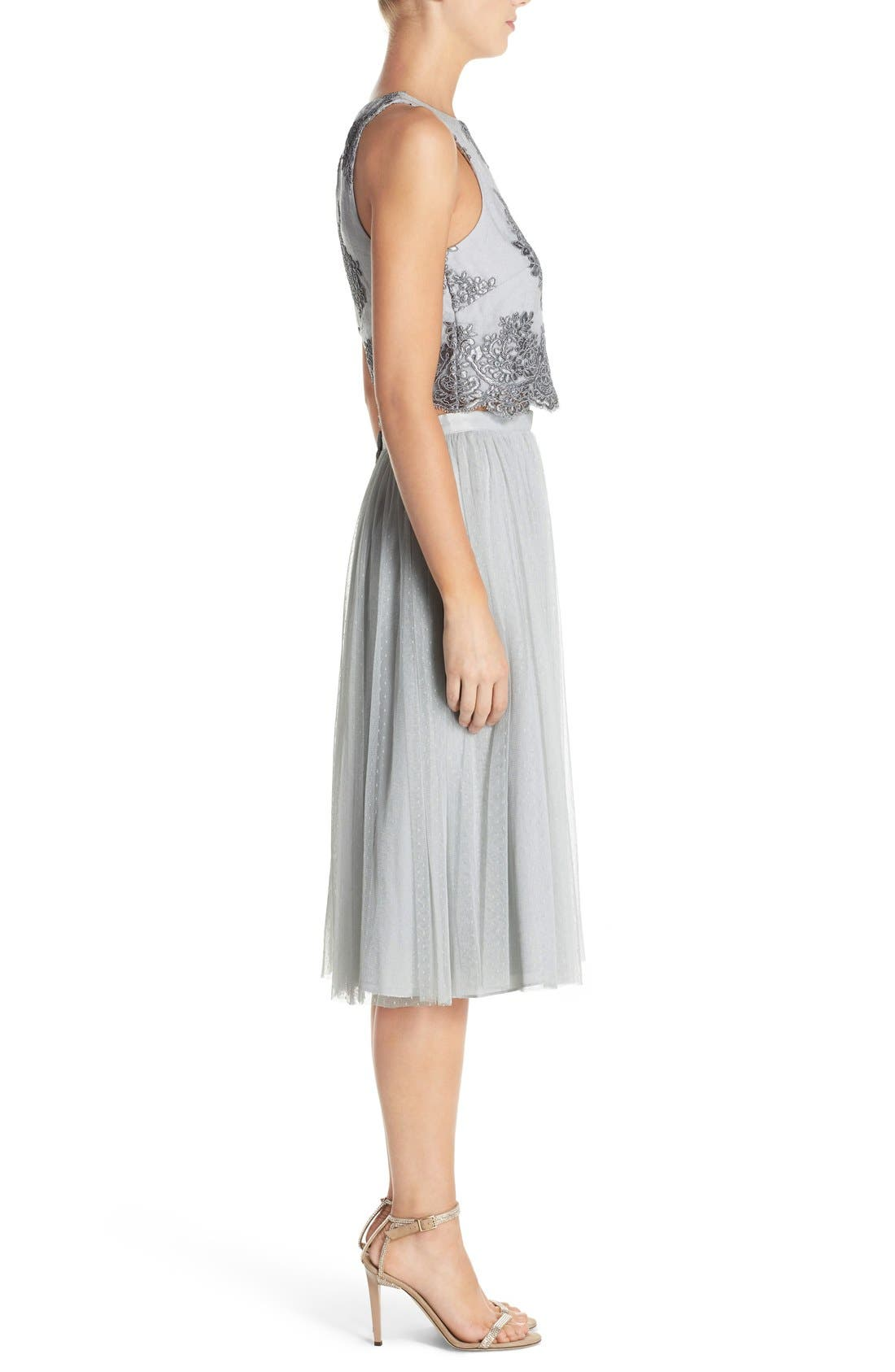 Alternate Image 3  - Donna Morgan 'Beatrix' Lace & Dotted Tulle Two-Piece Dress