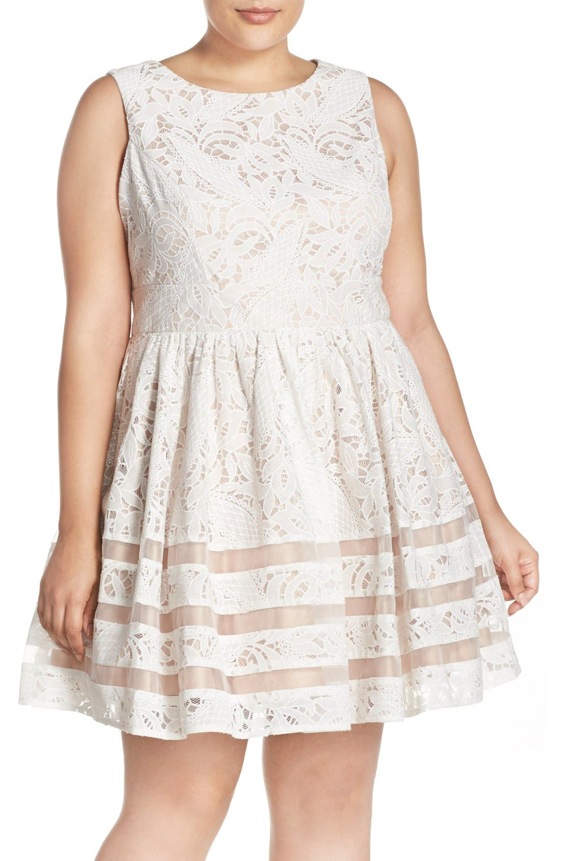 Main Image - Eliza J Shadow Stripe Lace Fit & Flare Party Dress (Plus Size)
