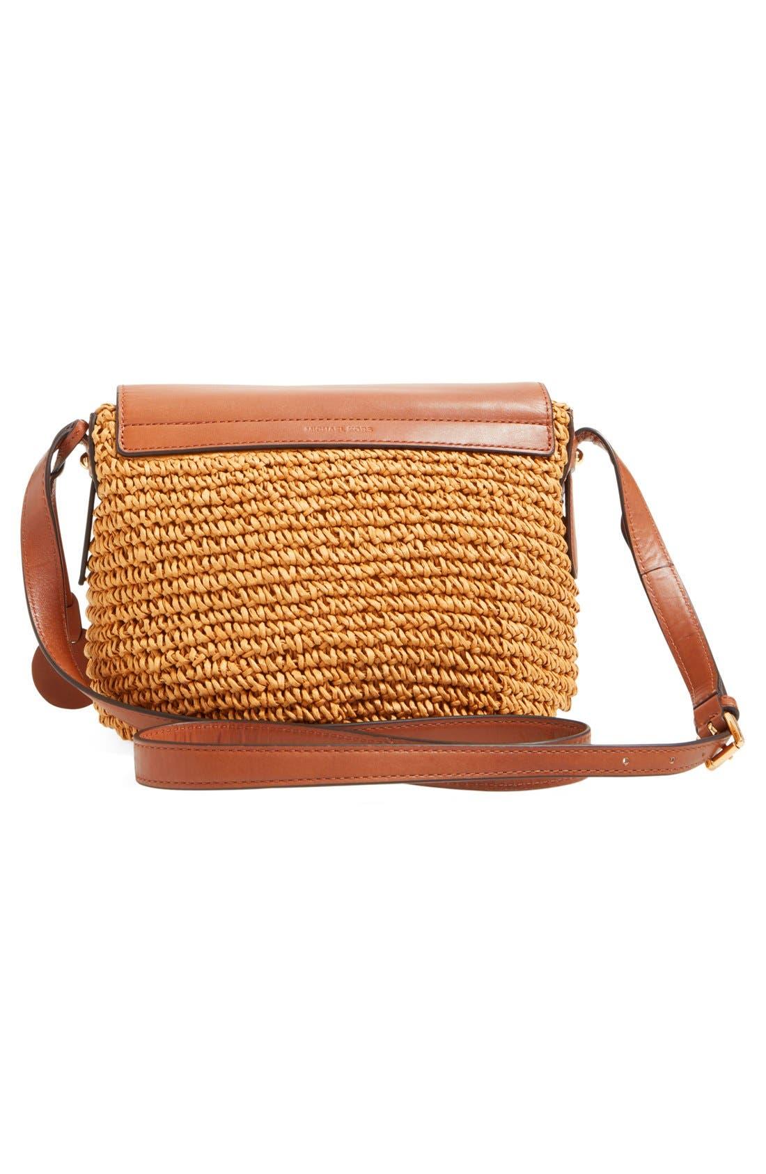 Alternate Image 3  - MICHAEL Michael Kors 'Medium Naomi' Straw & Leather Messenger Bag