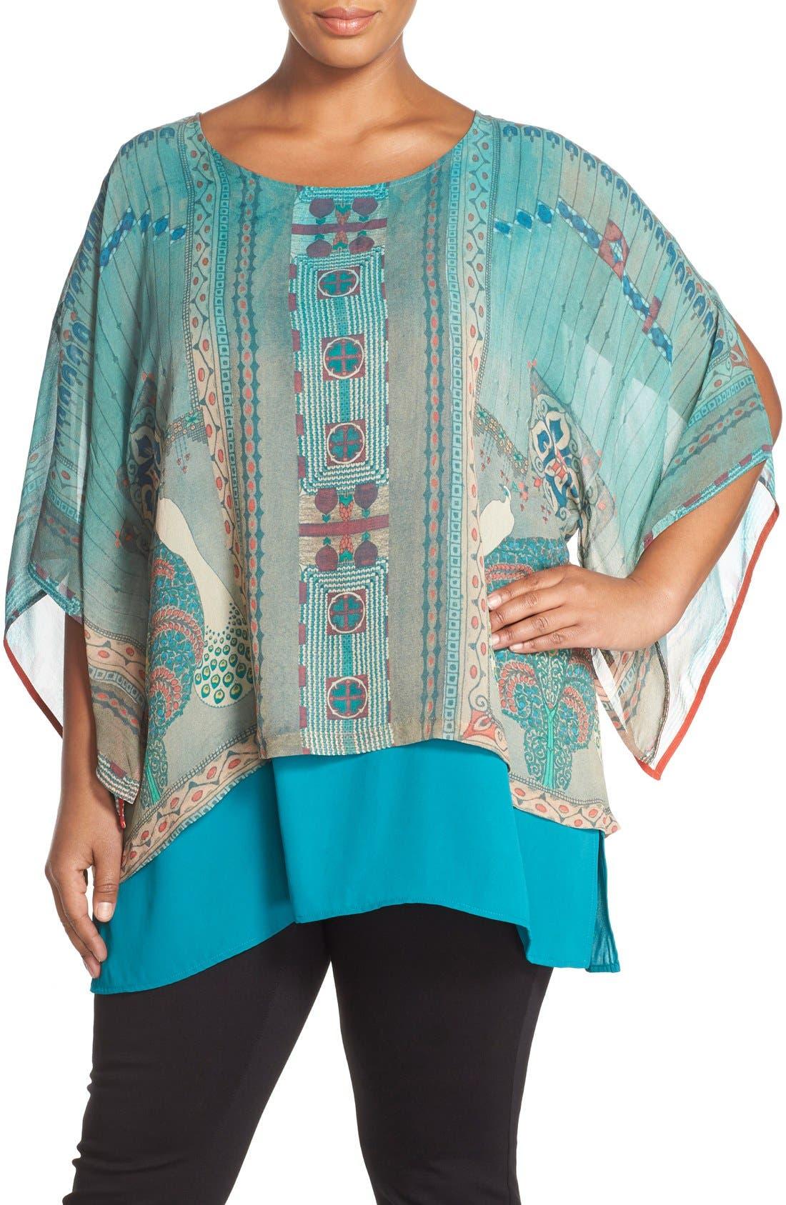 CITRON Print Silk Layered Tunic