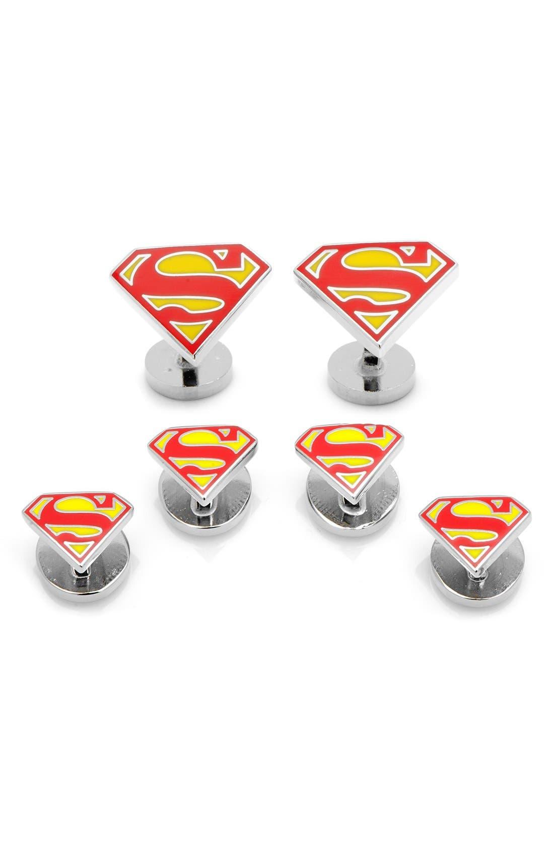 Alternate Image 1 Selected - Cufflinks, Inc. 'Superman Shield' Cuff Links & Shirt Stud Set
