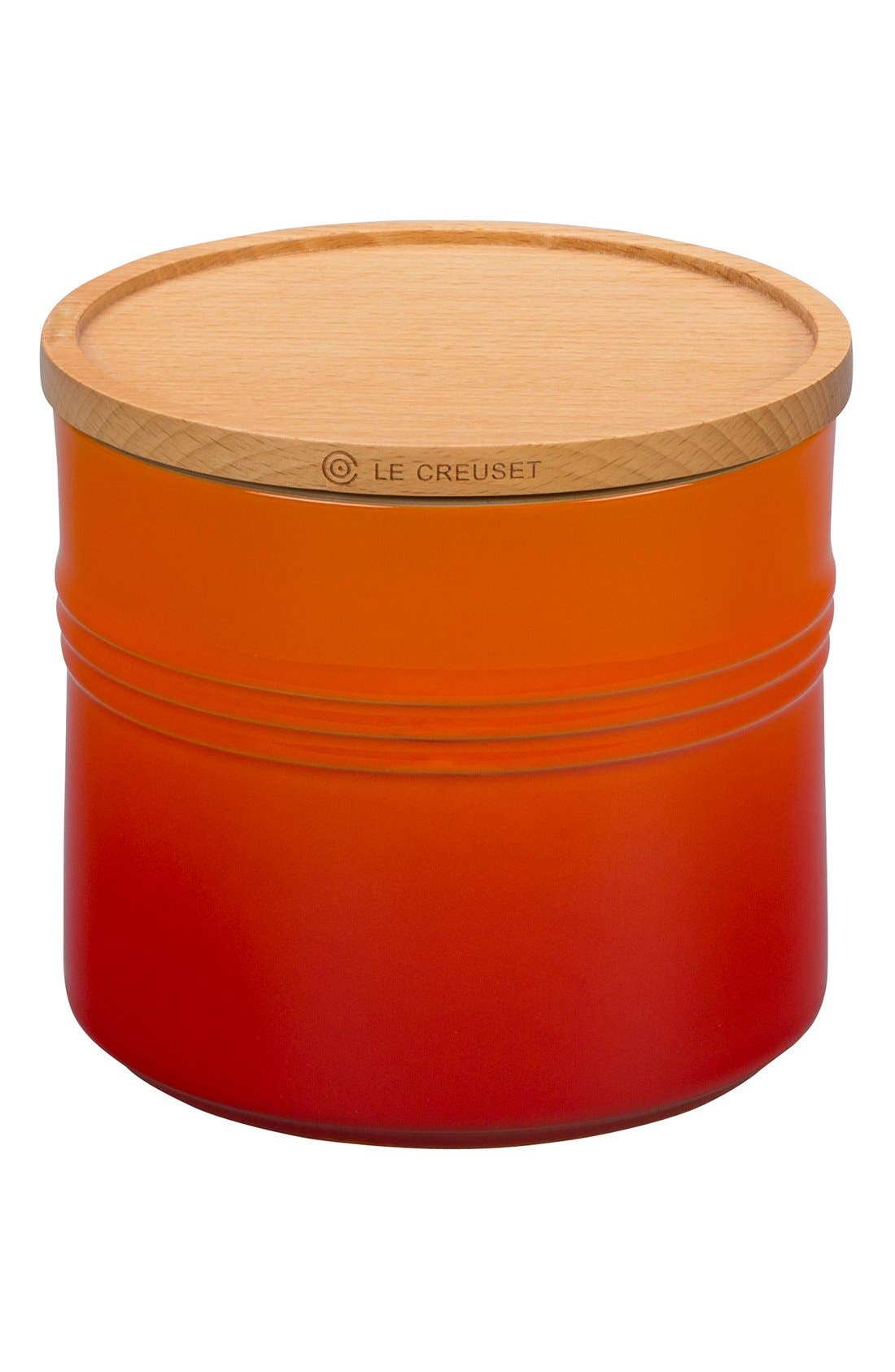 Le Creuset Glazed Stoneware 1 1/2 Quart Storage Canister with Wooden Lid