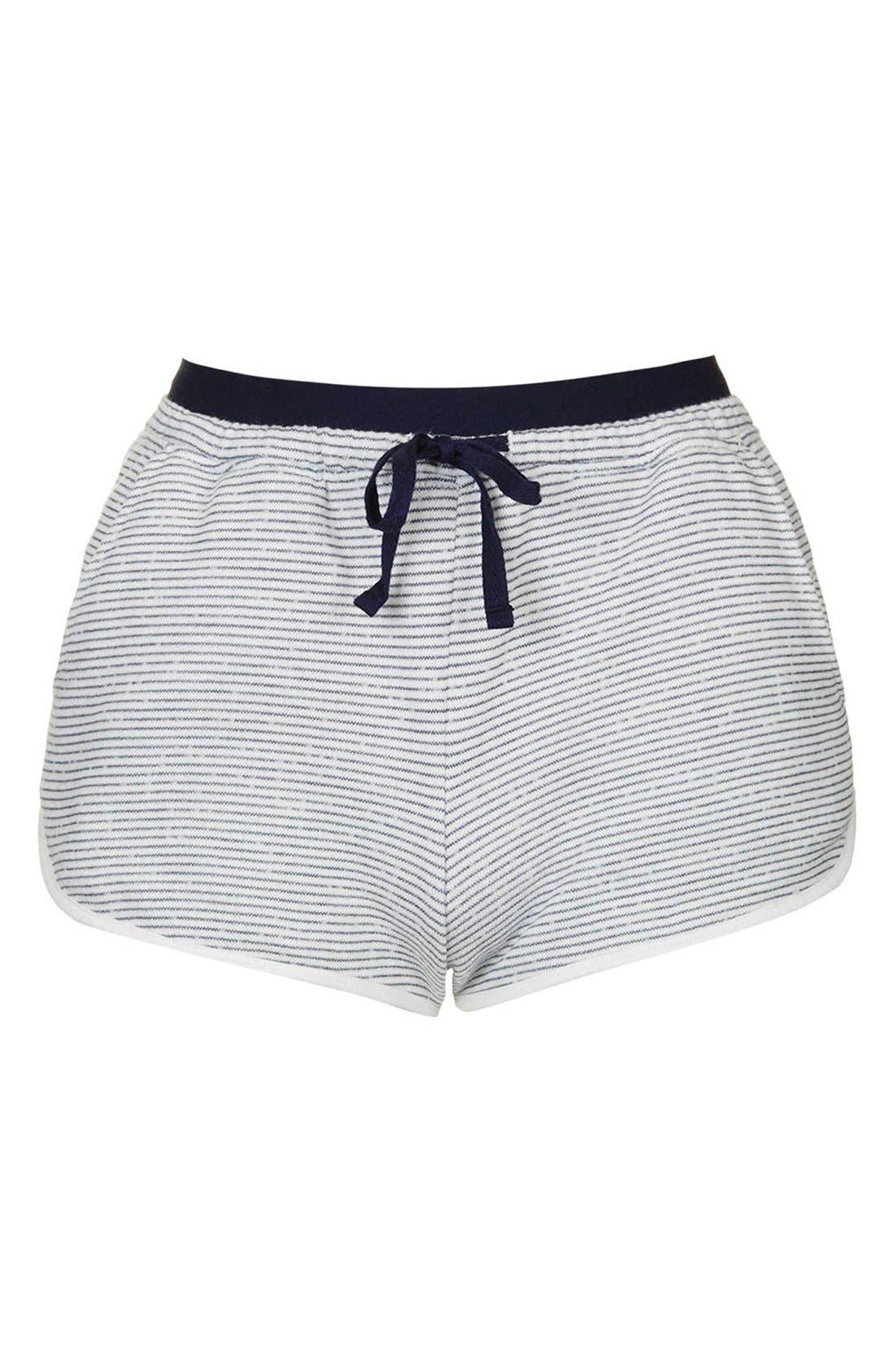 Alternate Image 4  - Topshop Stripe Contrast Waist Pajama Shorts (Petite)