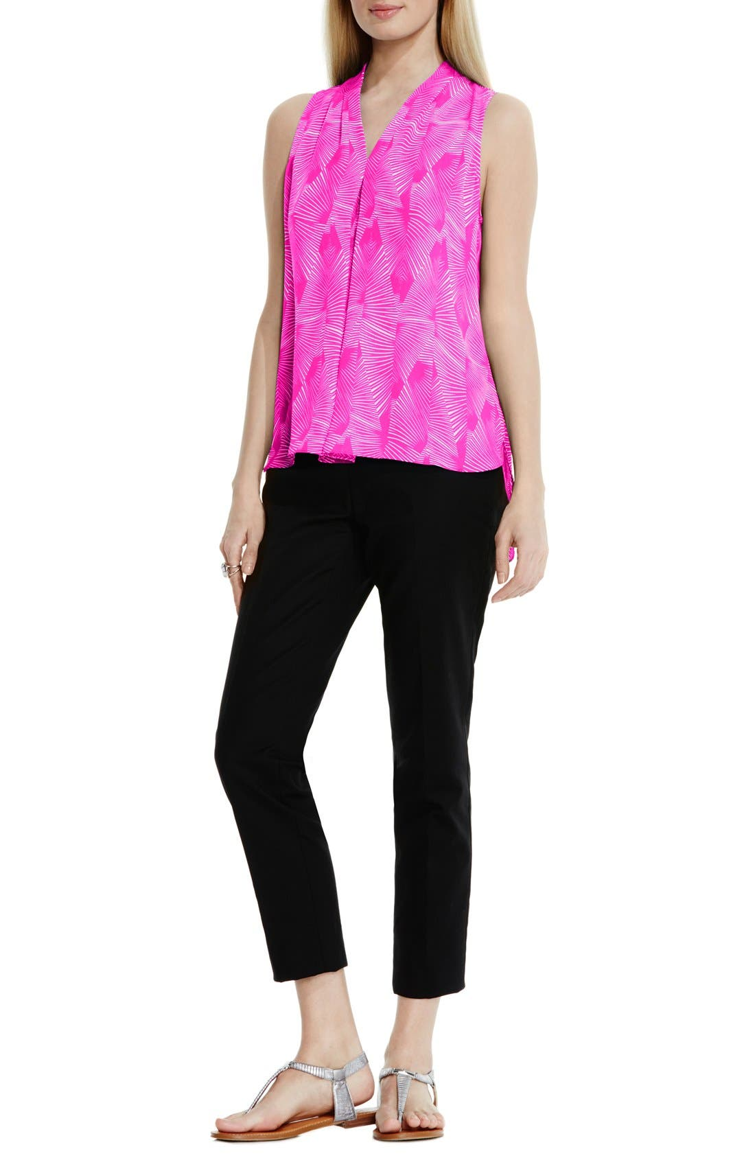 Alternate Image 2  - Vince Camuto Graphic Print Pleat Front V-Neck Blouse (Regular & Petite)