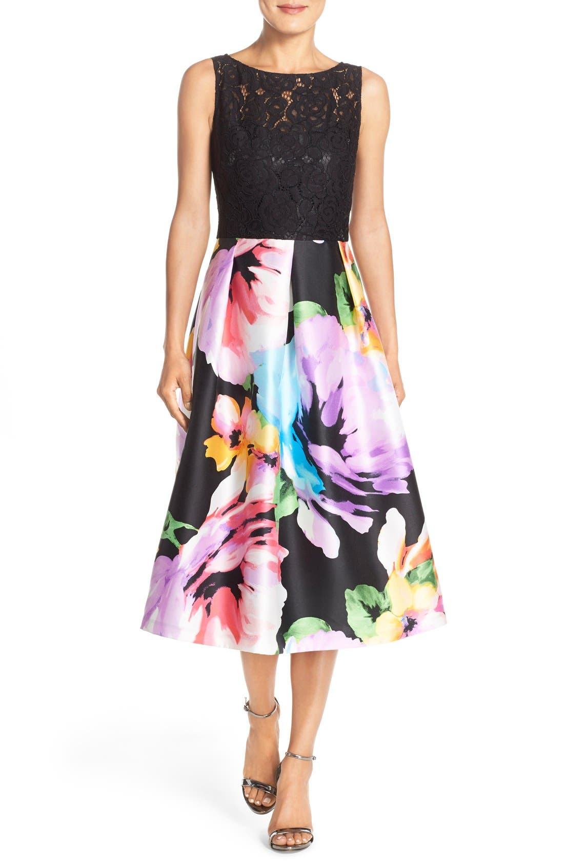 ELLEN TRACY Mixed Media Fit & Flare Midi
