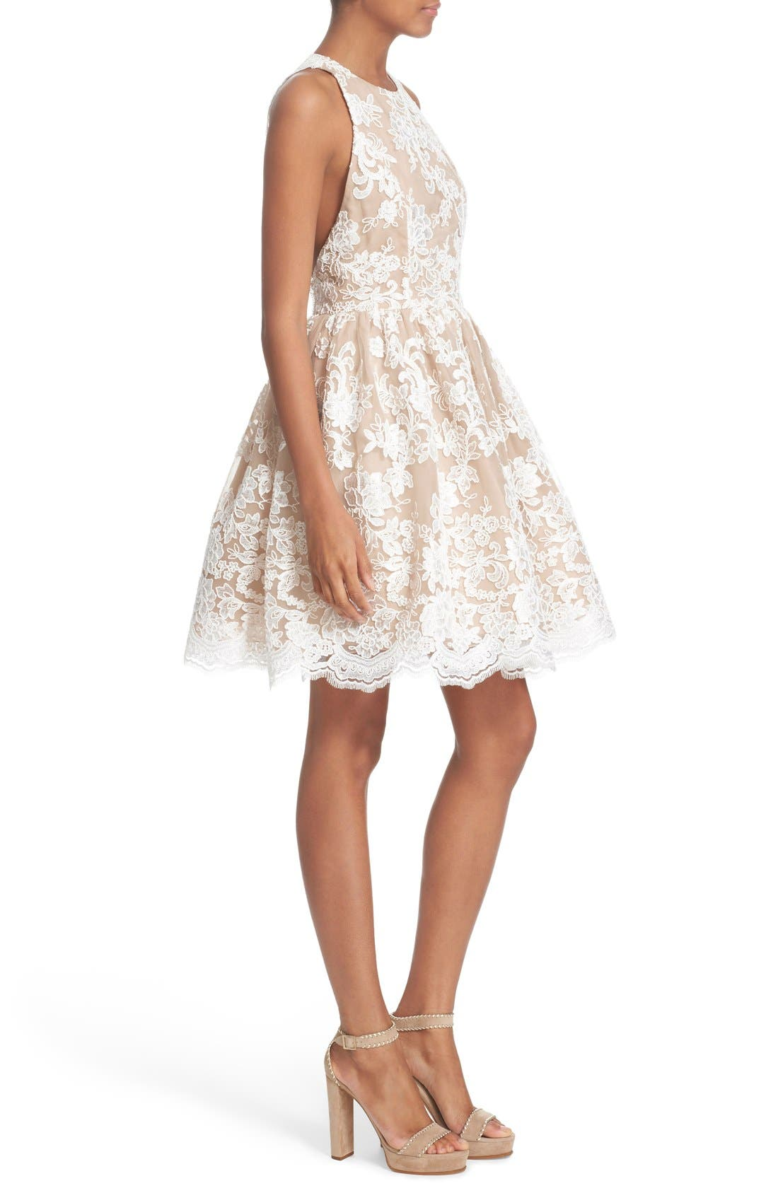 Alternate Image 3  - Alice + Olivia 'Ladonna' Lace Fit & Flare Dress