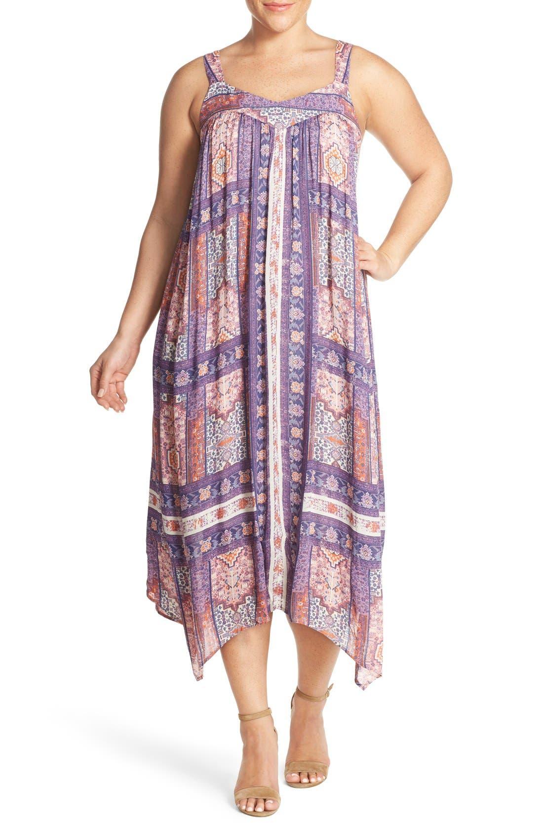 Lucky Brand Tapestry Print Handkerchief Hem Sundress (Plus ...
