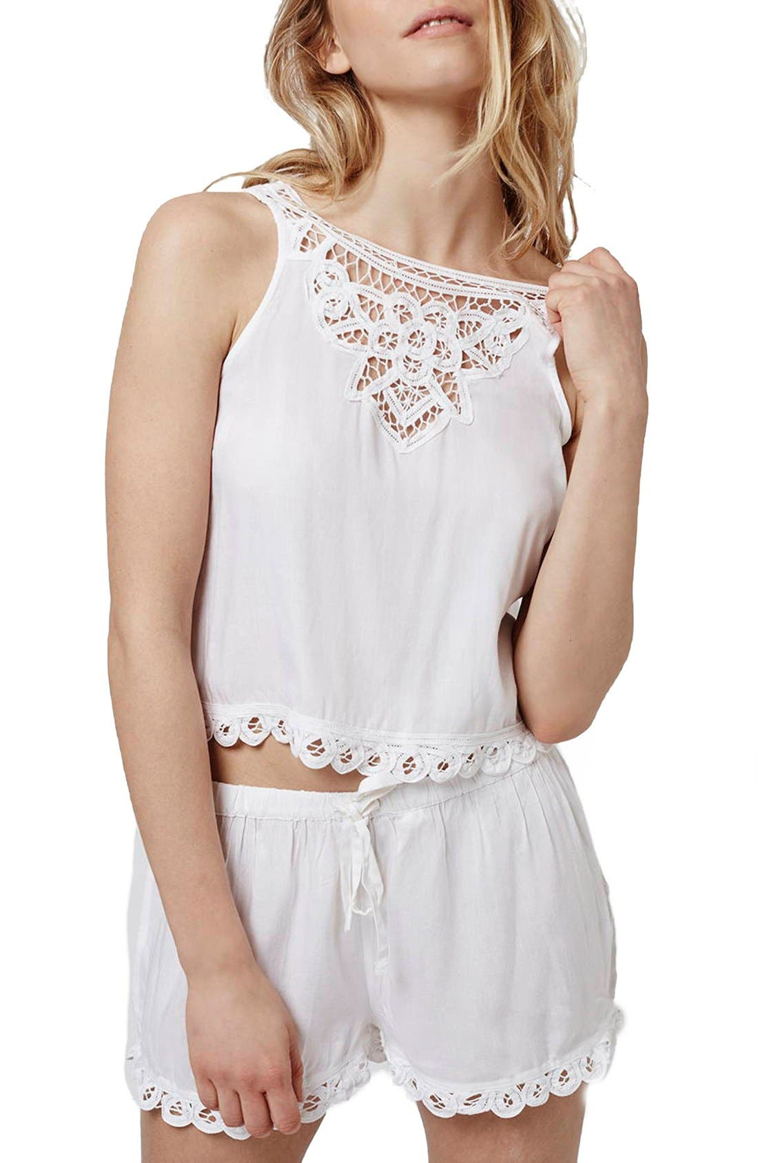 Alternate Image 1 Selected - Topshop Crochet Lace Pajamas