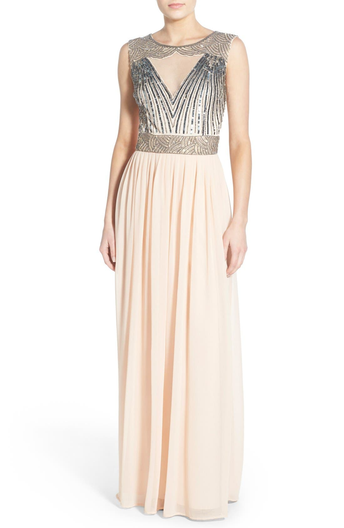 Main Image - Lace & Beads 'Tina' Embellished Maxi Dress