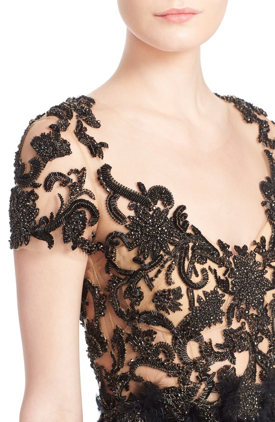 Alternate Image 5  - Marchesa Embroidered Illusion & Feather Cocktail Dress (Nordstrom Exclusive)