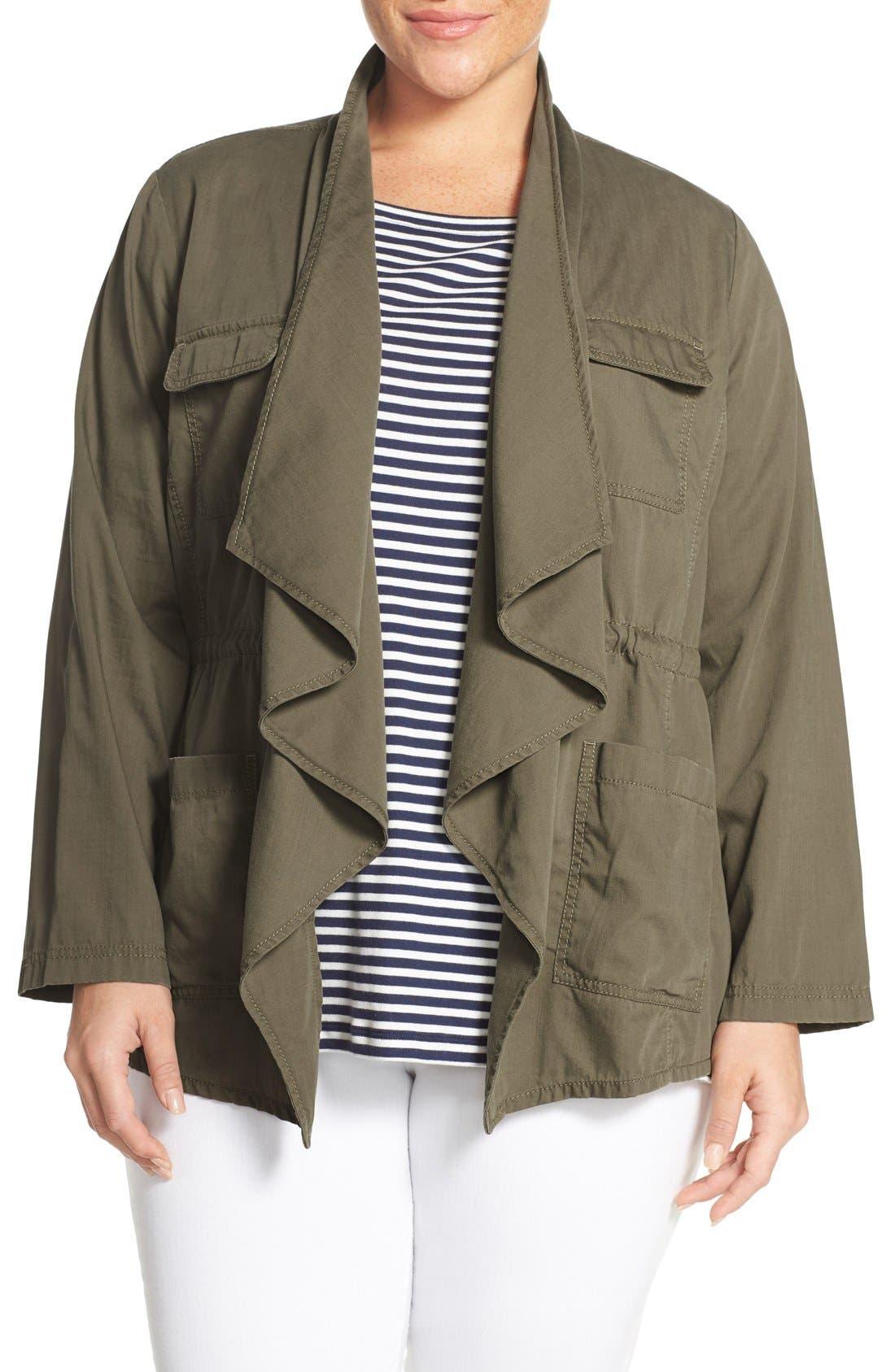 Caslon® Drape Front Utility Jacket (Plus Size)