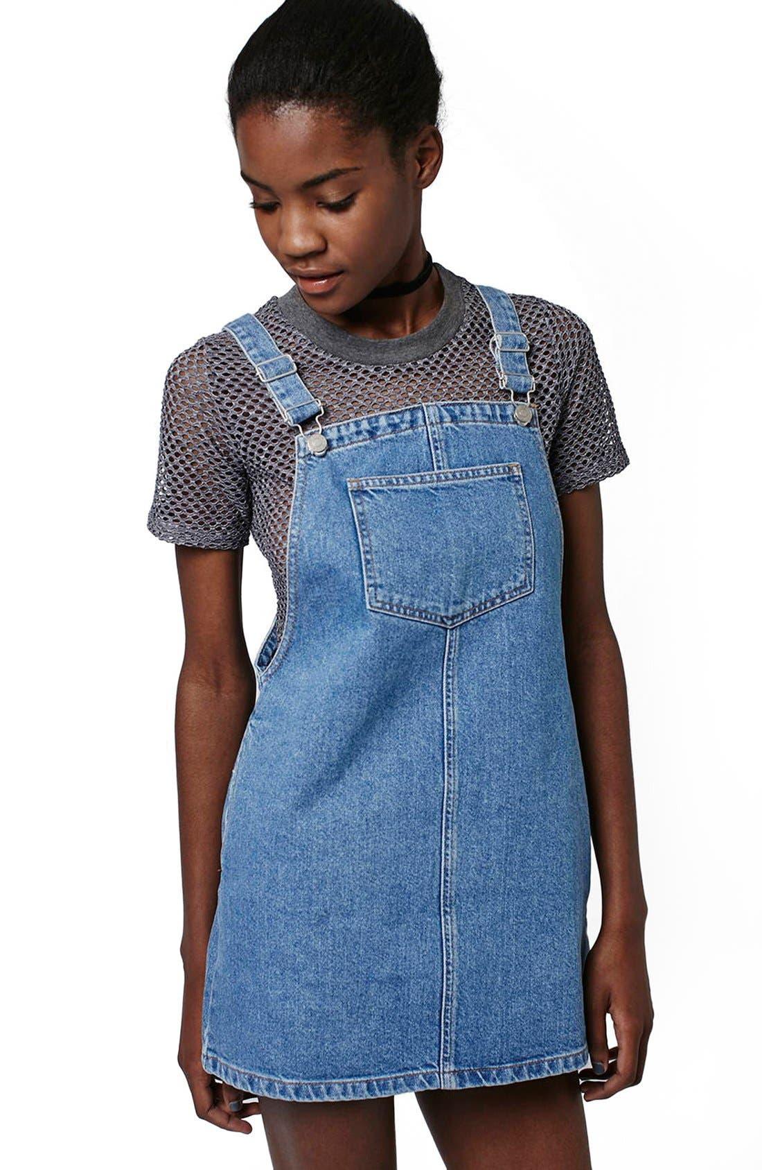 Alternate Image 3  - Topshop Denim Pinafore Dress (Petite)