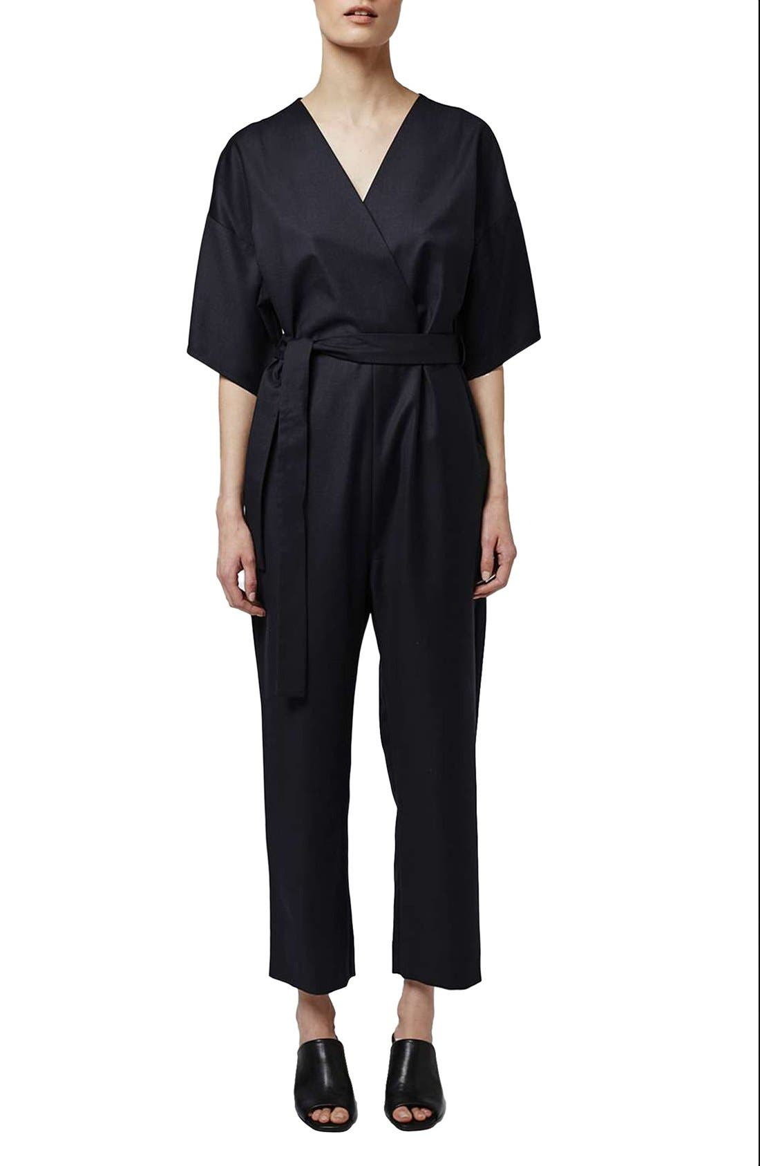 Alternate Image 1 Selected - Topshop Boutique Wool Kimono Wrap Jumpsuit