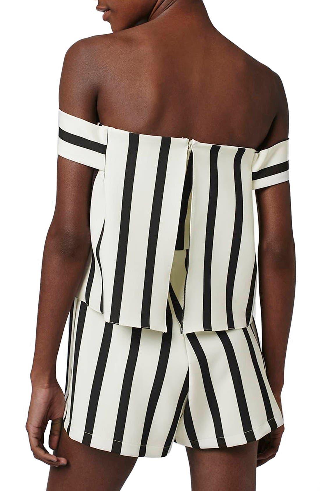Alternate Image 2  - Topshop Stripe Off the Shoulder Romper (Regular & Petite)