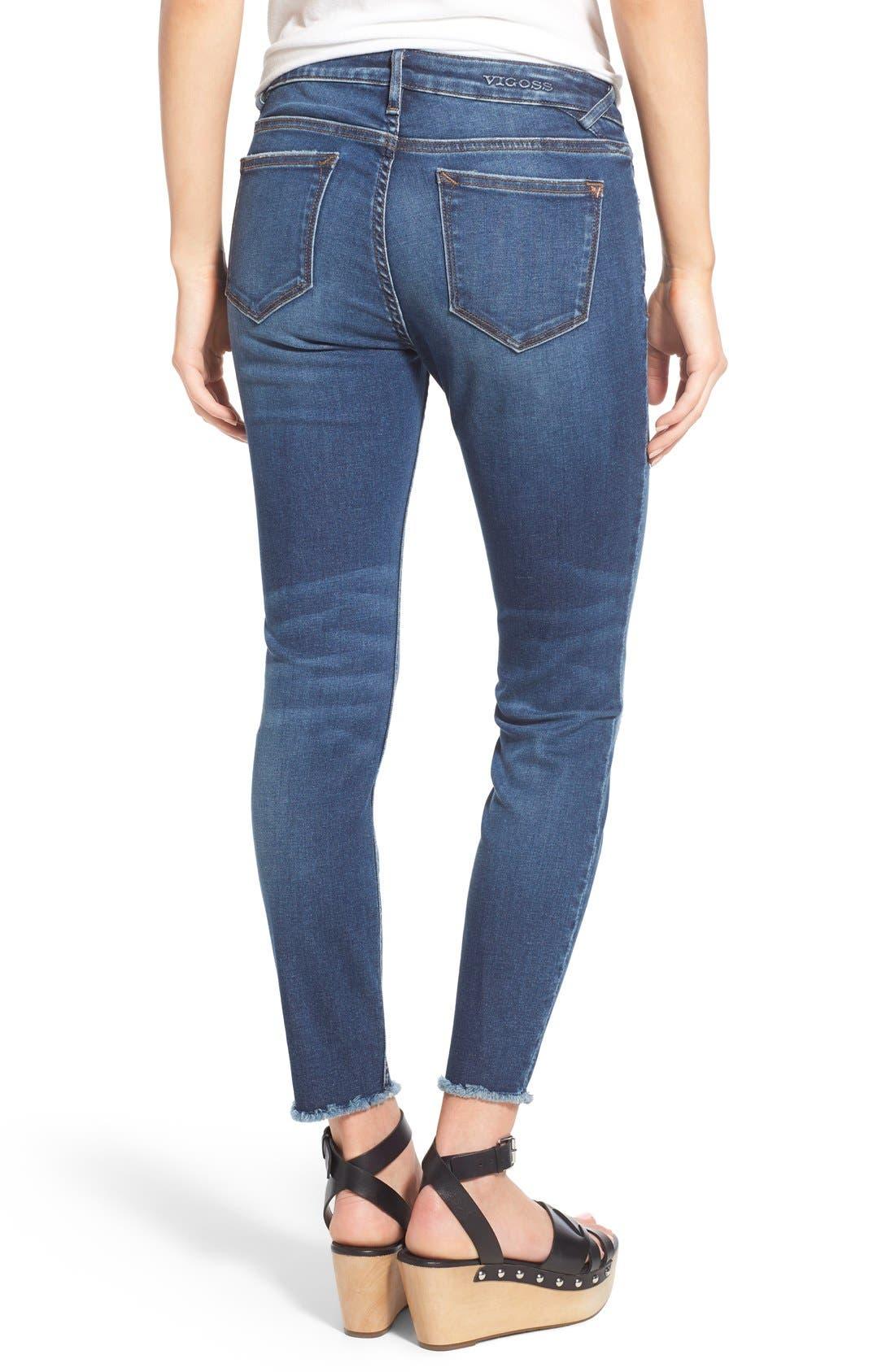 Alternate Image 2  - Vigoss Distressed Raw Hem Skinny Jeans