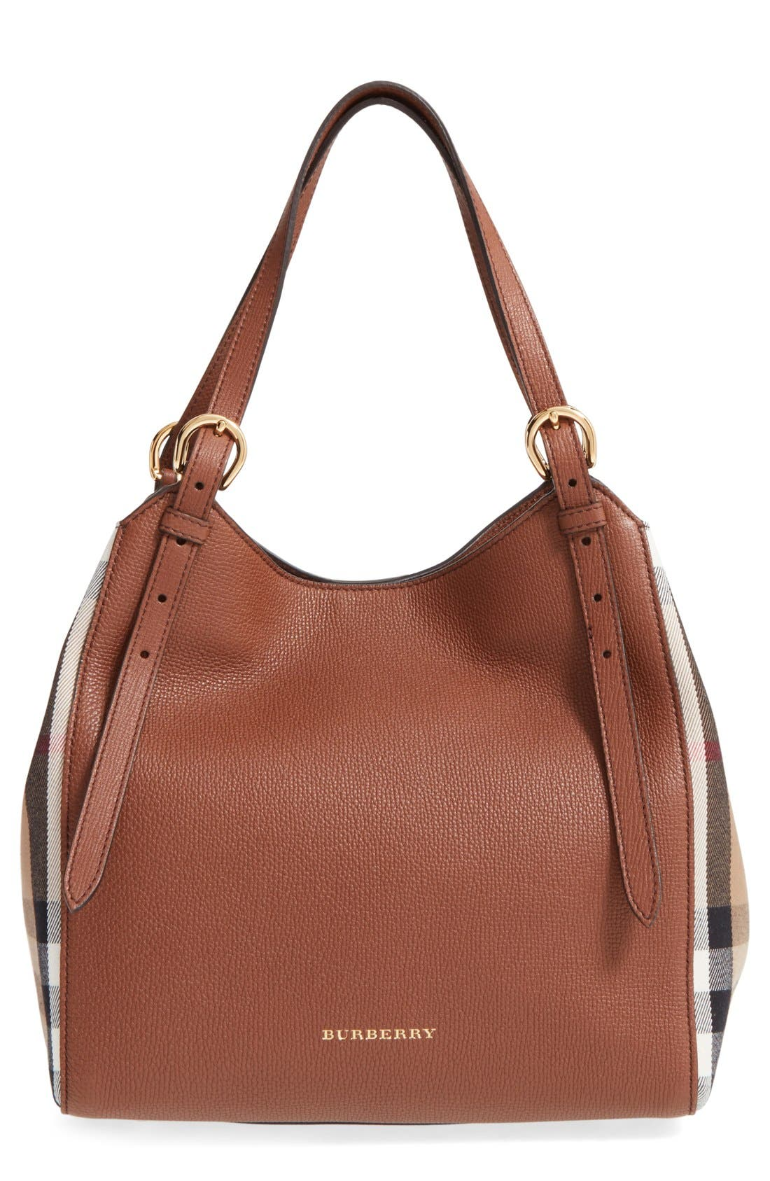 Alternate Image 1 Selected - Burberry 'Canterbury' House Check & Leather Tote