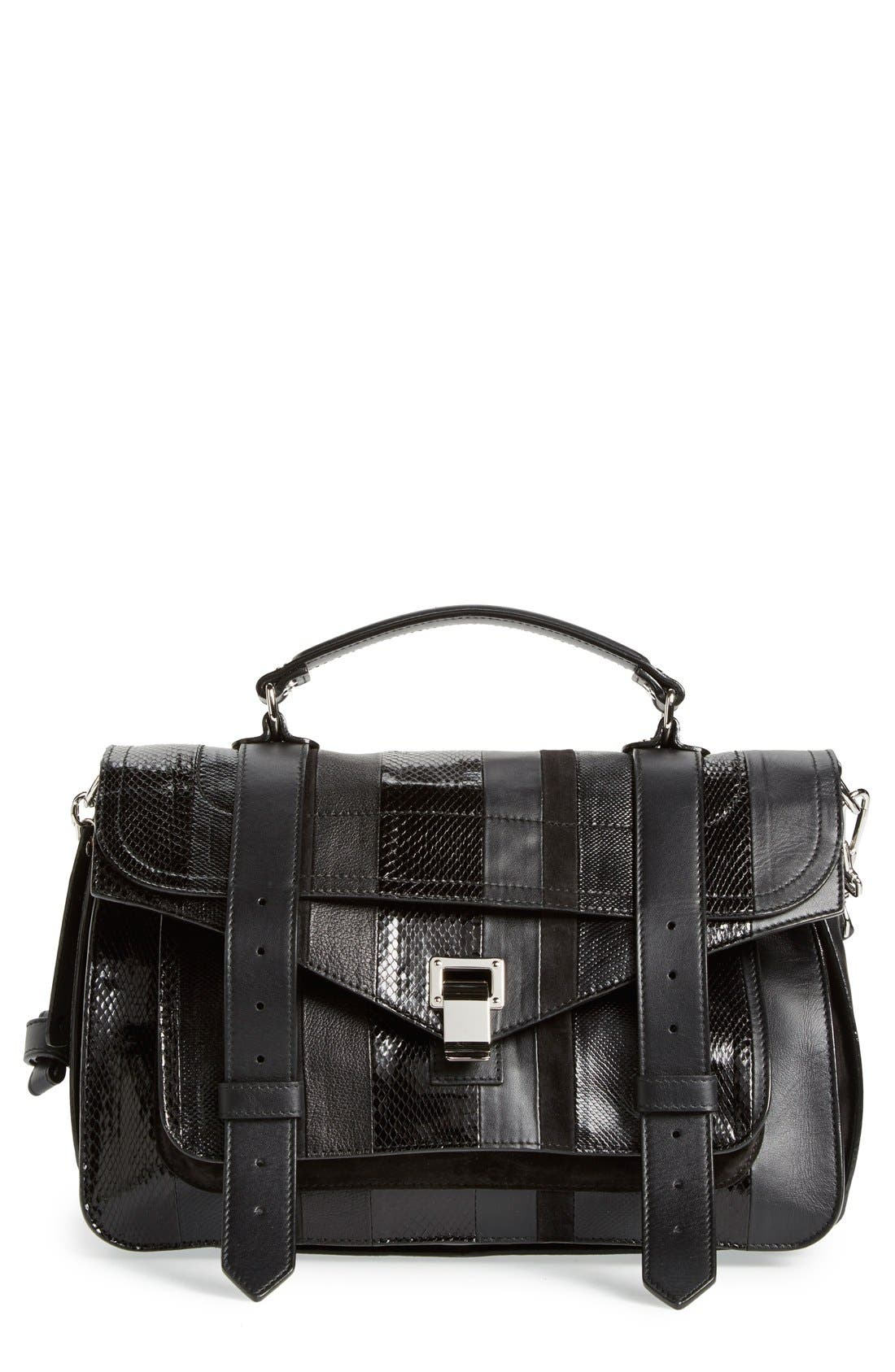 Main Image - Proenza Schouler 'Medium PS1 - Exotic Stripe' Genuine Snakeskin & Leather Satchel