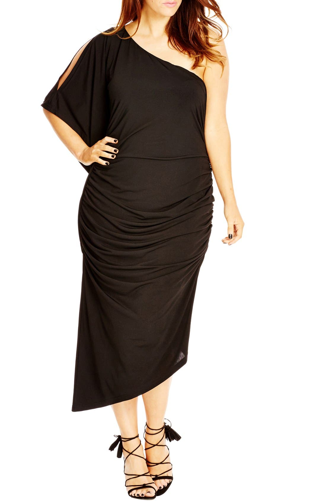 CITY CHIC 'Black Drama' One-Shoulder Midi Dress