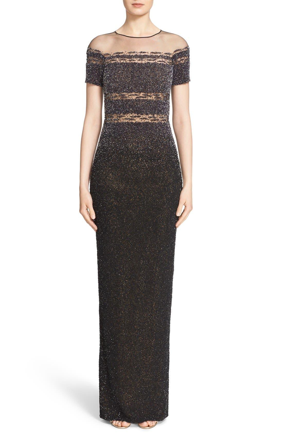 Pamella Roland Illusion & Sequin Column Gown