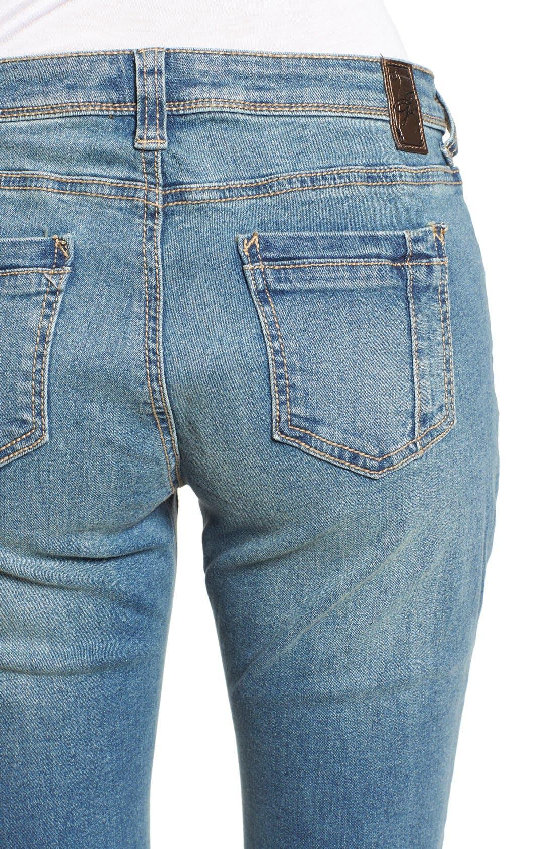 Alternate Image 4  - Poetic Justice 'Maya' Distressed Mid Rise Skinny Jeans (Tough Love)