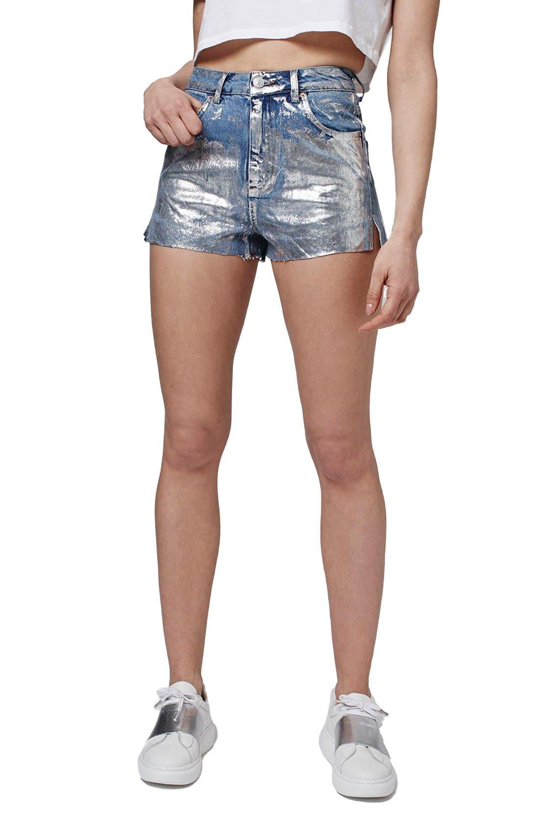 Main Image - Topshop Moto Metallic Paint Cutoff Mom Shorts