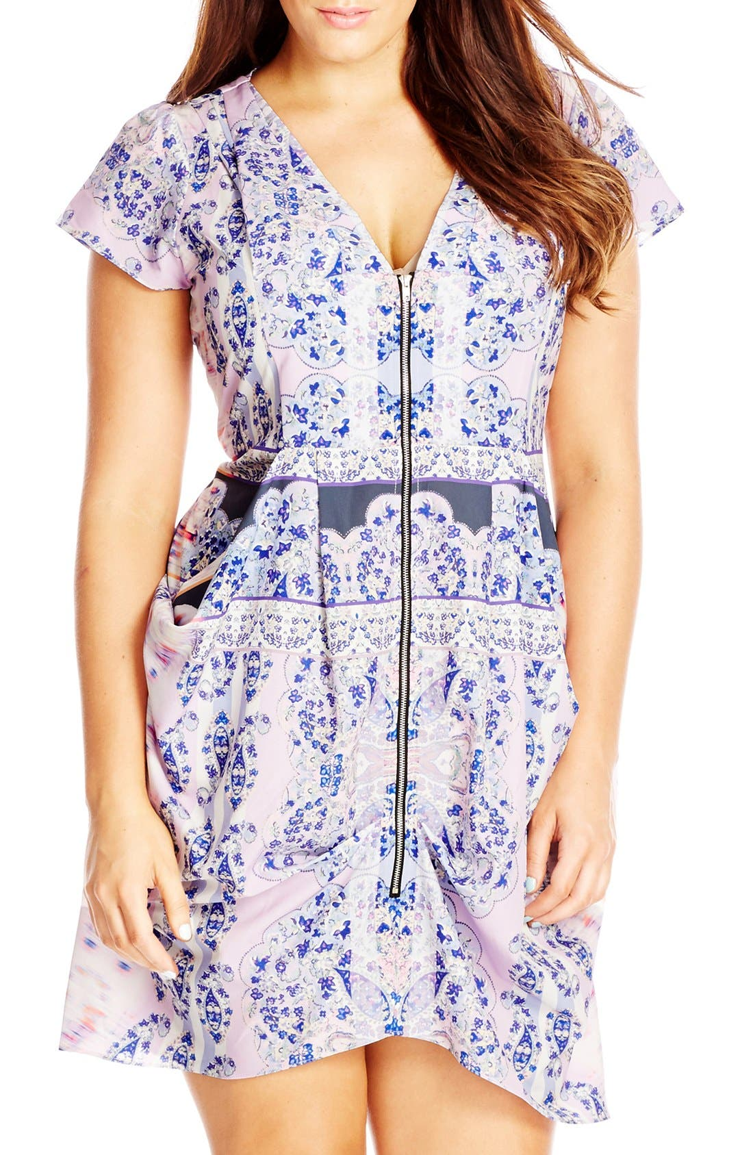 Main Image - City Chic Front Zip Pleat Tunic (Plus Size)