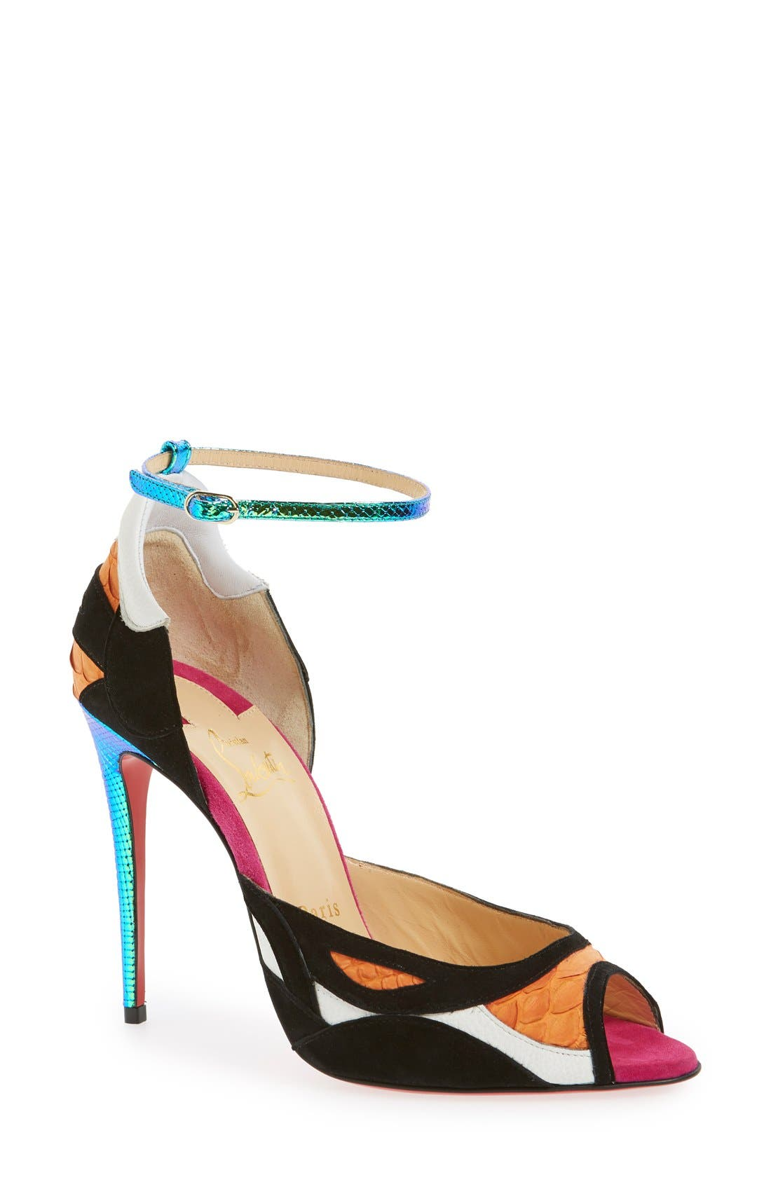 Main Image - Christian Louboutin 'Discodeporte' Genuine Python Ankle Strap Pump (Women)