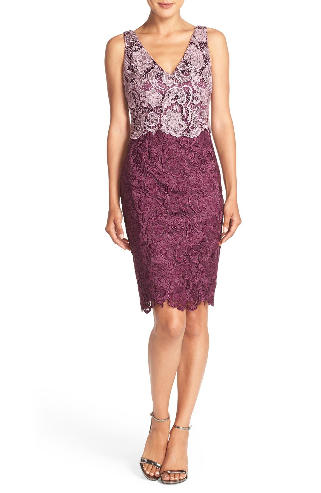 Alternate Image 4  - Adrianna Papell Colorblock Floral Lace Sheath Dress (Regular & Petite)