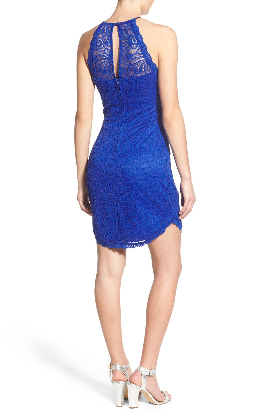 Alternate Image 2  - Bee Darlin High Neck Lace Body-Con Dress