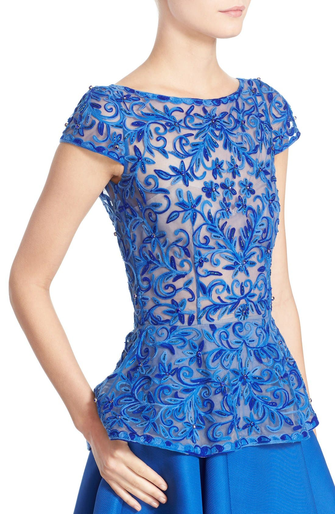 Alternate Image 5  - Naeem Khan Cap Sleeve Embroidered Gazar Peplum Gown