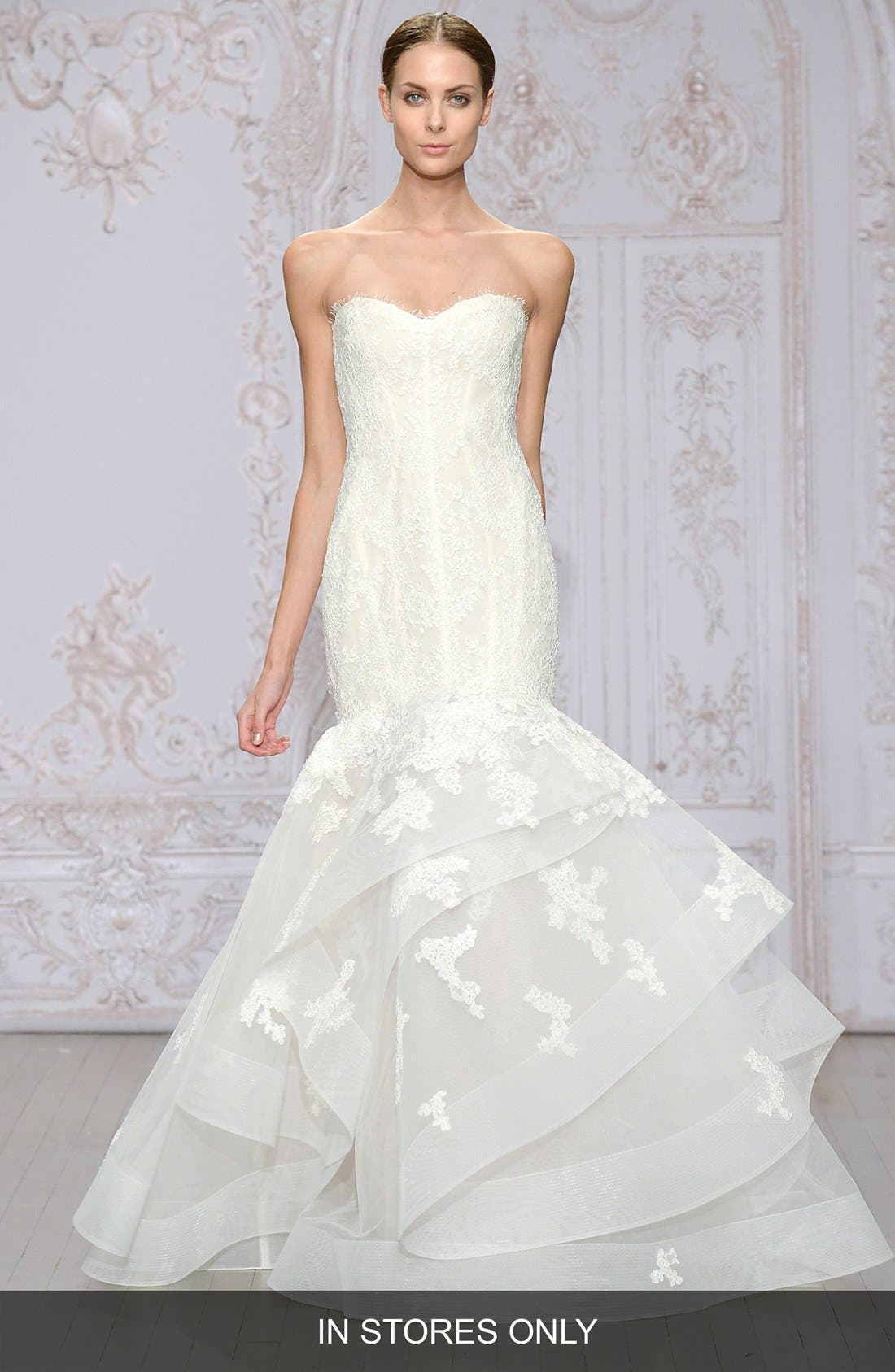 Monique Lhuillier 'Saffron' Strapless Lace & Organza Mermaid Gown (In Stores Only)